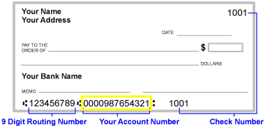Where to find account number