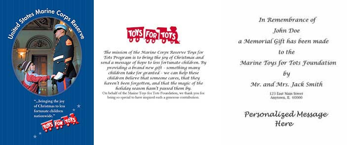 Toys For Tots Certificate : Marine toys for tots foundation make a tribute donate